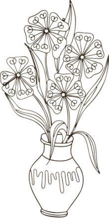 line drawings of flowers in vases - Google Search
