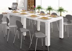 Biały stół, rozkładany, wysoki połysk, polski producent Hubertus, capri