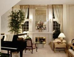 small living room with piano | Baby grand pianos put full-size sound in smaller living spaces.
