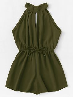 Shop Drawstring Waist Halter Jumpsuit at ROMWE, discover more fashion styles online. Cute Comfy Outfits, Cute Casual Outfits, Cute Summer Outfits, Pretty Outfits, Stylish Outfits, Girls Fashion Clothes, Teen Fashion Outfits, Outfits For Teens, Girl Fashion