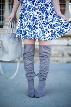 Asos blue and white floral skater dress, grey over the knee boots, grey bag, ombre, navy faux fur coat