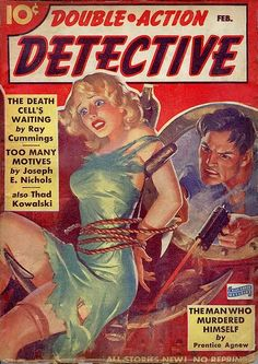 Double-Action Detective pulp cover art, man woman dame captive hostage kidnap tied bound pistol gun shooting danger porthole anchor ship