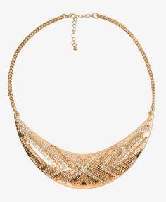 Rhinestoned Boomerang Bib Necklace | FOREVER 21 - 1022323936