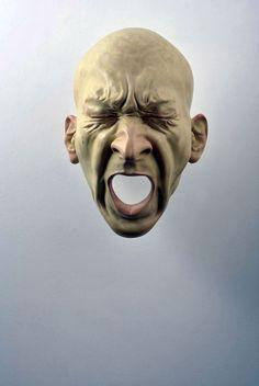 Bogdan Rață - sculpture - 2013 - head - yelling? pain? anger? tension? eyes tightly shut -