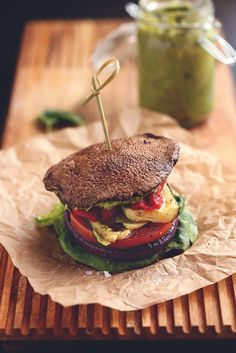 roasted vegetable sandwich with avocado-basil aioli + portobello buns Going Vegetarian, Vegan Vegetarian, Vegetarian Recipes, Healthy Recipes, Diabetic Recipes, Paleo, Sandwiches, Hamburgers, Basil Aioli