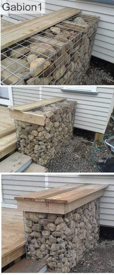 Timber placed inside the gabion to secure the lid to. www.gabion1.com
