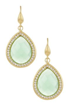 18K Gold Clad Faceted Teardrop Midori Crystal Simulated Diamond Earrings