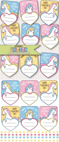 These Free Printable Unicorn Valentine's Day Cards are super cute don't you think? They bring me back to my childhood and my obsession with unicorns. They are just perfect for classroom valentines! Unicorn Valentine Cards, Free Valentine Cards, Happy Valentines Day Card, Valentines For Kids, Valentine Day Crafts, Valentine Ideas, Holiday Crafts, Unicorn Printables, Valentine's Day Printables