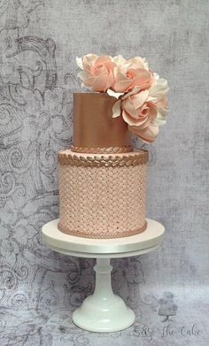Blush and rose gold birthday cake by Seize The Cake
