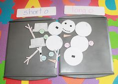 Snowmen with Focus Words can be made easily with a cookie sheet, paper and a roll of craft store magnetic tape. modify this idea: your child must read the focus word before using it to build their snowman.