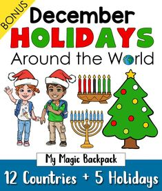 Travel around the world this holiday season and discover how different countries celebrate Christmas, Hanukkah, Kwanzaa, St. Lucia Day and Las Posadas. Perfect way to jump-start your geography learning for kids who are in pre-k and kindergarten. December Holidays Around The World, Holiday Celebrations Around The World, Celebration Around The World, Holiday Themes, Christmas Traditions, Holiday Ideas, Preschool Christmas, Christmas Activities, Christmas Hanukkah