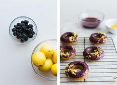 Baked lemon donuts with blackberry glaze. Gluten-free and paleo.