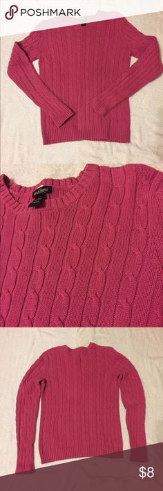 "Bundle for $5: Hot Pink Cable Knit Sweater 💰Bundle any 3 $8 Items for $5💰 Steve & Barry's Hot Pink Cable Knit Sweater. Size L but fits like a Small, measures: 16"" across shoulders, 18"" across chest, 23"" long, 26"" sleeve. 100% cotton. 1127/100/11917 Steve & Barry's Sweaters Crew & Scoop Necks"