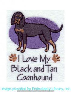 Stickmotiv Stickbild Aufnäher Stickerei Emblem Blütick-Coonhound  Blütick-Coonhound /  Stickerei I Love My Black and Tan Coonhound (G5295)