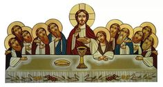The Last Supper Coptic Icon Lords Supper, Last Supper, Religious Icons, Religious Art, Good Shepard, Church Icon, Holy Thursday, Images Of Christ, Byzantine Art
