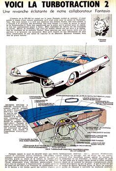 Voici la Turbotraction 2. Illustrations de Franquin pour le 1000e numéro de Spirou, du 13 juin 1957.