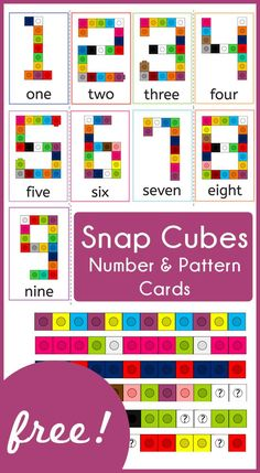 Cubes - Number and Pattern Cards Snap Cube Number and Pattern Cards! Such an awesome resource for my preschooler!Snap Cube Number and Pattern Cards! Such an awesome resource for my preschooler! Numbers Kindergarten, Numbers Preschool, Kindergarten Centers, Math Numbers, Teaching Numbers, Montessori Preschool, Montessori Elementary, Elementary Teaching, Number Activities For Preschoolers