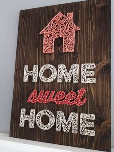 Home sweet hom sign diy string art 30 ideas Nail String Art, String Crafts, Resin Crafts, Arte Linear, Cuadros Diy, Diy And Crafts, Arts And Crafts, String Art Patterns, String Art Tutorials