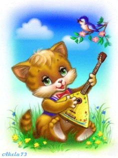 KITTY PLAYING A LUTE