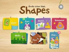 Doodle Critter Math: Shapes - a set of 6 activities for early math practice (shapes): a variety of puzzles, memory, tracing. Appysmarts score: 91/100