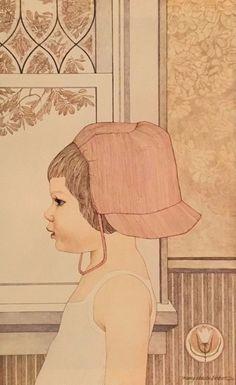 """Vintage Art Print 1977 Nancy Ekholm Burkert Book Plate Lithograph """"Claire"""" Child #Vintage"""