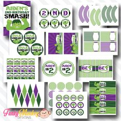 Incredible Hulk Printable Party Package - PERSONALIZED