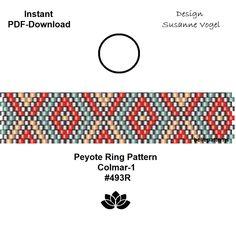 peyote ring pattern,PDF-Download, instant download,ring #493R,2 variants, beading pattern, beading tutorials, ring pattern,pdf par bellepatterns sur Etsy https://www.etsy.com/fr/listing/577763526/peyote-ring-patternpdf-download-instant