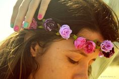 Flower Crown Purple and Creme Flowers Hippie Headband Headpiece Hair Piece Bohemian Hipster Boho Hippie on Etsy, $264.55