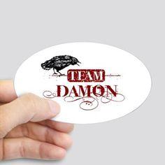 Vampire Diaries Damon red Sticker (Oval) Vampire Diaries Team Damon red Sticker (Oval) by cat - CafePress Vampire Diaries Damon, 14th Birthday, Coffee Ideas, Hydro Flask, White Vinyl, Sweet 16, Painted Rocks, Coupon Codes, Originals