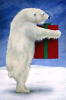 Artwork of Will Bullas featuring Polar bear with a Christmas present. Quilt block available at Purrfect Spots