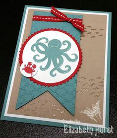 Stampin' Up! Sea Street stamp set from New 2014 - 2015 Catalog! Wanted a fun and quick card!  Little fish in background are heat embossed with clear (EP) embossing powder.  Used one of the New In Colors, Lost Lagoon with classic Real Red. Starburst die cut set for the frame around Octopus in circle.