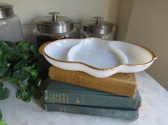 Fire King Milk Glass Divided Serving Dish by SweetWoodruffVintage, $12.00