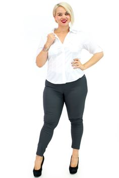 Plus Size Shiny Pull On Ponte Pants with Rare Pockets $14.99 | Danice Stores