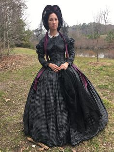 1860's Half mourning gown - The Couture Courtesan
