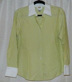 Talbots Petites Green White Striped Oxford Shirt Top Blouse wrinkle resistant 12 #Talbots #ButtonDownShirt