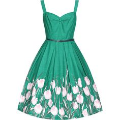Bernice Turq Tulip 6 ($38) ❤ liked on Polyvore featuring dresses, turquoise, sweetheart neckline dresses, green pleated dress, skater skirt, flared skirt and green dress