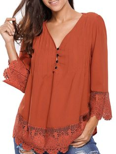 Lacework Splicing Single-Breasted Blouse