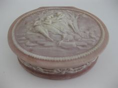 Light Pink Incolay Stone Hinged Jewelry Box Cameo Toile Shabby Chic Trinket Box