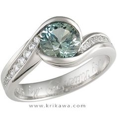 Carved Wave Engagement Ring with Green Sapphire
