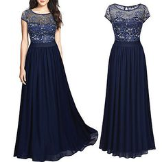 Damen Abendkleid Lace Blume Chiffonkleid Spitze Stickerei Maxi Party kleid Blau