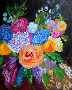 """Abstract Expressionist Flower Painting """"Zoe"""" by Carolyn Shultz/Blue Poppy Design"""