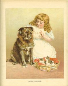 Vintage Edwardian 1900s Ernest Nister Childrens Print Blonde Haired Girl Tells Dog To Look After Kittens Antique Colour Bookplate