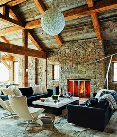 exposed beams and rock wall