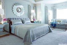 "s. ""The smoky silk-satin headboard set the tone. Then you thrown in the mirrored bedside tables, the lustrous bedding, the Lucite curtain hardware, and the starburst mirror, and you're so far down that road you can' t go back."" Chic Link in Seamist from Kravet. Baker's Paris bed is dressed in Ann Gish's quilted Frost Charmeuse coverlet and shams. Belvedere mirrored chests from Hickory Chair. Seville starburst mirror by Julian Chichester. Quartz lamps by McCoy Design.   - HouseBeautiful.com"