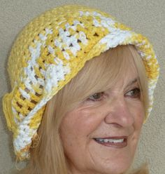 Hat Summer Yellow White Crochet. $30.00, via Etsy. http://www.etsy.com/treasury/NTM5ODkzNXwyNzIxMzYwMjI3/visit-755-handmade-garden-way