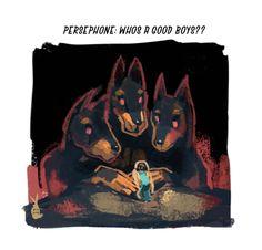 "princebunbuns: "" futchwitch: "" persephone: whos a good boys? persephone: youre a good boys! such good boys! cerberus: :D! Greek Gods And Goddesses, Greek Mythology, Daughter Of Poseidon, Mystical Animals, Hades And Persephone, Lore Olympus, Cerberus, Epic Art, Nymphs"
