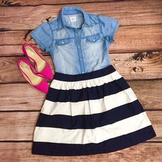Banana Republic Striped Skirt Stripes?✔️ Gorgeous Color?✔️ This skirt is 18 inches long with a 14 inch waist and a 7 inch side zipper. It is so fun and lightweight which makes it perfect for summer! Its gorgeous color and fun stripes make it so versatile with many options! Banana Republic Skirts