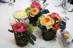 Plastic Cups Mossed for Centerpieces