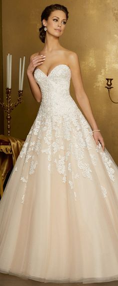 Gorgeous Tulle Sweetheart Neckline A-line Wedding Dress With Lace Appliques & Beadings