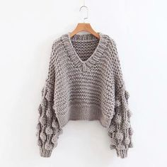 Goodnight Macaroon 'Kaitlyn' Pom Pom Cropped V Neck Sweater Chunky-knit, V-neck sweater Pom-pom sleeves Cropped length polyester Pom Pom Sweater, Thick Sweaters, Grey Sweater, Sleeve Styles, Crochet Top, Knitwear, Autumn Fashion, Pullover, Clothes For Women